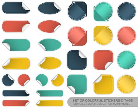 Set of blank colorful stickers and tags. Editable vector design. Illustration