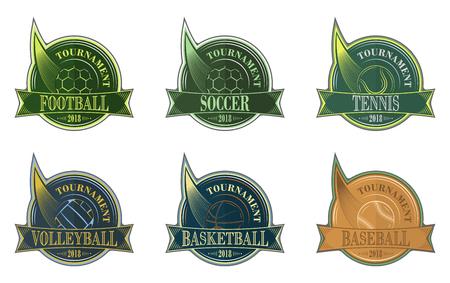 Set of sport emblem with ball. Football, soccer, volleyball, basketball, baseball and tennis vector badges. Illustration