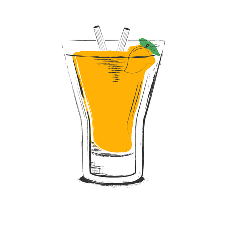 Mango cocktail. Hand drawn vector illustration in sketch retro style isolated on white background. Illustration