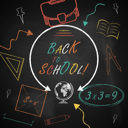Back to school. Vector background with blackboard and smudges.