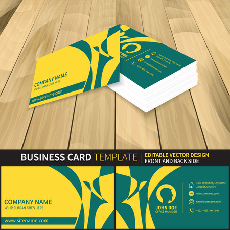 Business card template. Creative vector mock-up with front and back side. Preview from perspective.