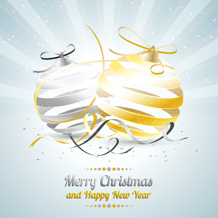 Merry Christmas and Happy New Year llustration or greeting card with gold and silver baubles, bow, ribbon and confetti.