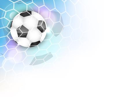 サッカー サッカー ボール、ネット、キラキラとあなたのコンテンツのためのスペースのベクトルの背景。