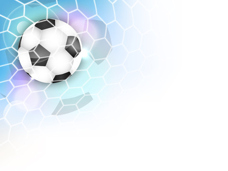 Soccer vector background with football ball, net, glitter and space for your content.