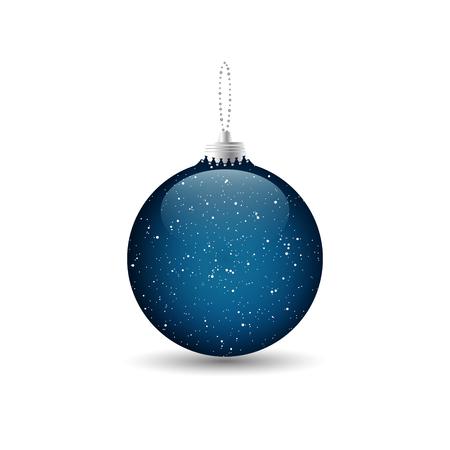 Blauer Weihnachtsflitter mit einer silbernen Kette lokalisiert auf weißem Hintergrund. Vektor-illustration Standard-Bild - 86991036