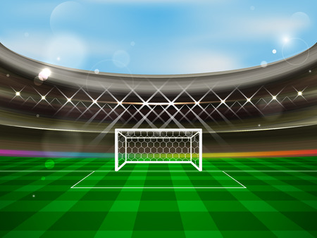 Soccer stadium vector banner. Football arena with spotlights, tribunes, soccer goal net and green grass. The concept of a match invitation.