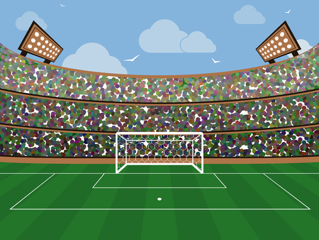 Sport stadium with soccer goal net, green grass, tribunes, fans and blue sky with cloud. Football arena. Flat style vector illustration.