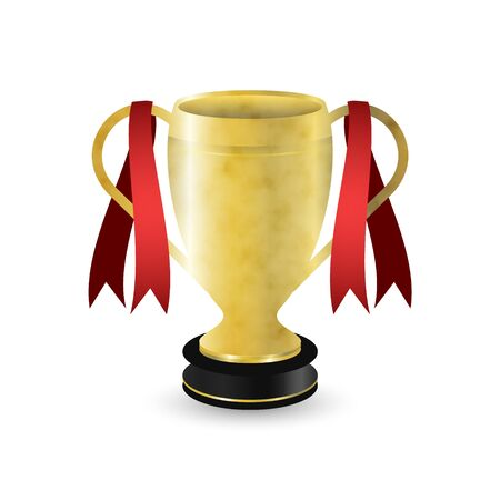 Golden sport trophy with dark pedestal and red ribbons. Vector illustration.