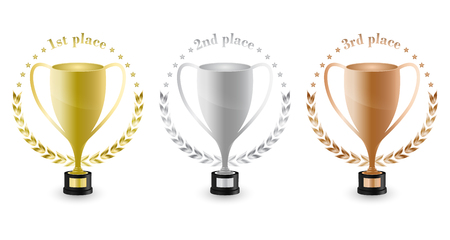 Sport trophies for the first place, second place and third place with laurel wreath and stars. Gold, silver and bronze trophy. Vector illustration. Illustration