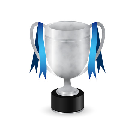 Silver sport trophy with blue ribbons. Isolated vector illustration. Ilustrace