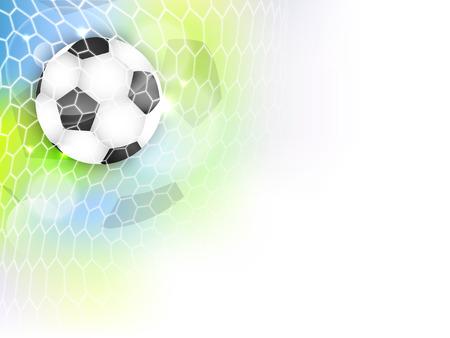 Voetbal vector achtergrond met voetbalbal, net, glitter en ruimte voor uw inhoud.