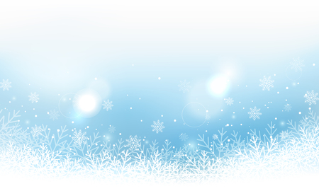 Winter landscape banner with snowflakes and glitters.