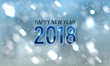 glows: Blurred glows blue vector background with snowfall, snowflakes and glitter. Design for Happy New Year 2018 banner or greeting card.
