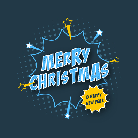 Merry Christmas and Happy New Year banner with comic text effect, halftone effect and stars. Vector illustration.