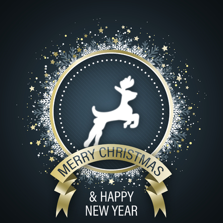 Merry Christmas and Happy New Year greeting card with white reindeer symbol in the middle, golden ribbon, decorative circle with stars and snowflakes. Vector illustration. Illustration