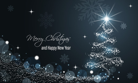 Christmas and New Year glowing blue vector background with snow wave, glitter, stars, snowflakes and christmas tree.