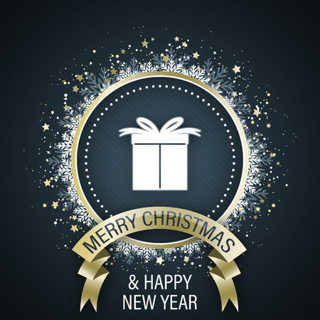 Merry Christmas and Happy New Year greeting card with white gift box in the middle, golden ribbon, decorative circle with stars and snowflakes. Vector illustration.