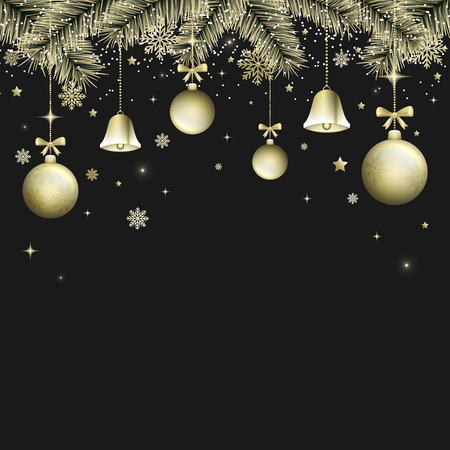Winter Christmas dark background with golden bells, christmas balls and bows. Snowflakes, branches, snow, glitter and glowing stars. Vector illustration.