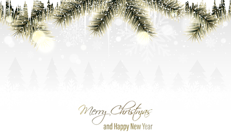 Winter scenery with golden branches, snowflakes, snowfall, icicles and coniferous trees on the horizon. Merry Christmas and Happy New Year greeting card. Vector illustration.