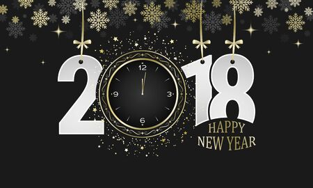 Happy New Year 2018 dark greeting card. Numbers with golden bows, snowflakes and clocks. Vector illustration.