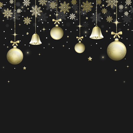 Winter Christmas dark background with golden bells, christmas balls and bows. Snowflakes, snow, glitter and glowing stars. Vector illustration.
