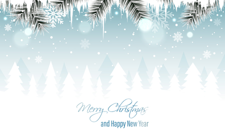 Winter landscape banner with branches, icicles, snowfall, snowflakes and snowy forest. Merry Christmas and Happy New Year greeting card. Vector illustration.