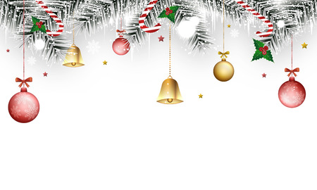 Christmas winter banner with magic wands, holly berries, golden bells, branches, icicles, snowflakes and christmas balls. Vector illustration.