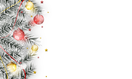 Winter vector banner with branches, christmas balls, snowfall, stars and ribbons. Design with stripe for your content.