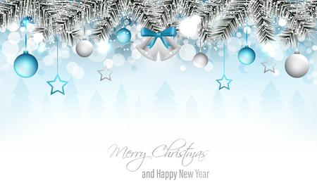 Winter landscape banner with silver bells, branches, christmas ball, stars, snowfall, snowflakes and snowy forest. Merry Christmas and Happy New Year wishes. Vector illustration. Illustration