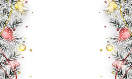 Winter banner. Christmas baubles on branches with stars, ribbons and snow. Vector illustration with place for your content.