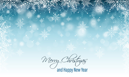 Christmas and New Year wishes. Winter blurred banner with snow and snowflakes. Vector illustration. Illustration