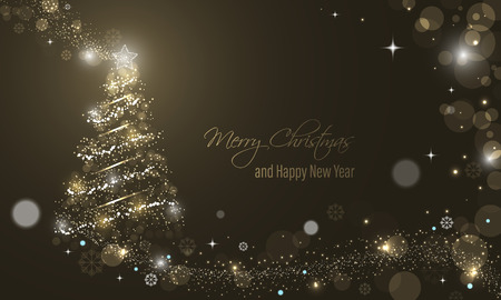 Iluminated Christmas tree with glitter, stars, snowflakes and transparent circles on a winter glowing vector background. Merry Christmas and Happy New Year wishes. Illustration