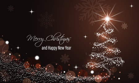 Christmas and New Year glowing red vector background with snow wave, glitter, stars, snowflakes and christmas tree.