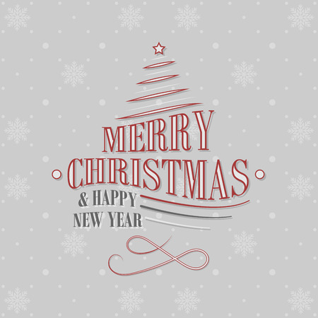 Christmas and New Year greeting card with decorative shapes, Christmas tree, star and snowflakes pattern.