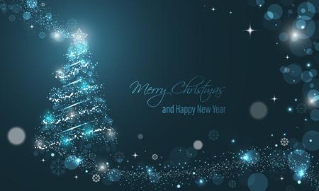 キラキラ、星、雪と冬の熱烈なベクトルの背景上の透明な円イルミネーション クリスマス ツリー。メリー クリスマスと幸せな新年の願い。  イラスト・ベクター素材