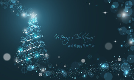 Illuminated Christmas tree with glitter, stars, snowflakes and transparent circles on a blue winter glowing vector background. Merry Christmas and Happy New Year wishes. Vettoriali