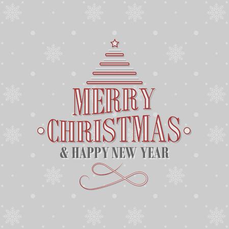 Merry Christmas and Happy New Year background with Christmas tree and snowflakes pattern.