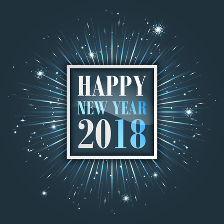 Happy New Year 2018 greeting card with fireworks, stars and glitter. Vector illustration. Illustration