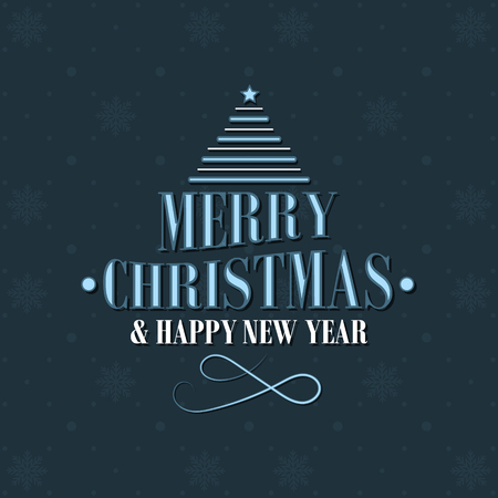 Merry Christmas and Happy New Year background with christmas tree and snowflakes pattern. Vector illustration.
