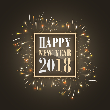 Happy New Year 2018 vector background with glowing fireworks and glitter.