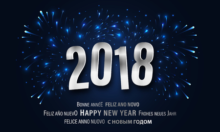 Happy New Year 2018 greeting card with fireworks, illumination and glitter Vector illustration.