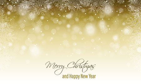 Merry Christmas greeting card. Happy New Year banner. Winter scenery with blurred background, snowfall and snowflakes.