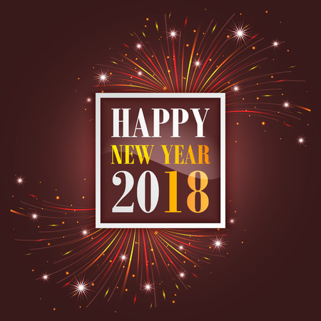 New Year greetings 2018 with fireworks, sparkle, stars and glitter.