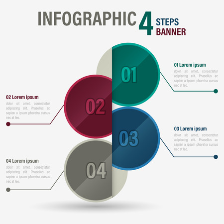 Info graphic four steps banner with circular elements.