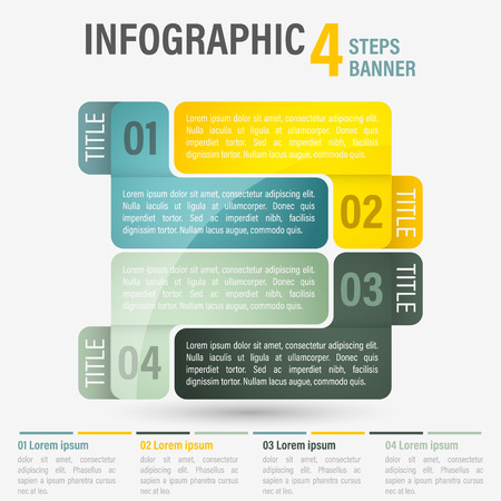 Abstract business four steps infographic template. Can be used for layout, workflow, number options. Editable vector design. Illustration