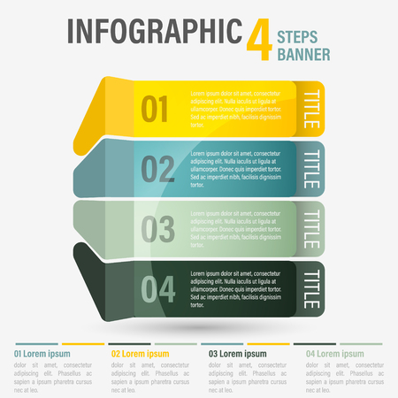 Abstract business four steps infographic template with perspective. Can be used for layout, workflow, number options. Editable vector design. Illustration
