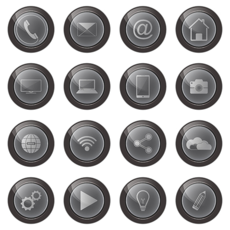 Web vector buttons isolated on white background. Web icons set.