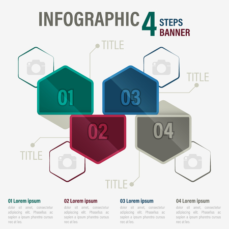 Info graphic four steps banner with hexagonal elements. Illustration