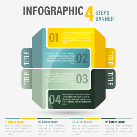 Abstract business four steps info graphic template with perspective. Can be used for layout, workflow, number options. Editable vector design.