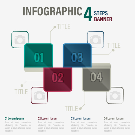 Info graphic four steps banner with square elements.